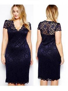 Sexy Women Plus Size Lace Short Sleeve Party Evening Night Gowns Dress at Banggood