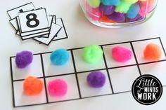 Little Minds at Work: Free Printable Number Cards and Ten Frames Plus a Few Ideas Numbers Kindergarten, Numbers Preschool, Kindergarten Centers, Math Numbers, Preschool Math, Math Classroom, Fun Math, Math Games, Teaching Math