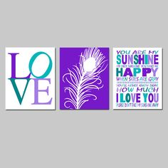 Girl Nursery Art Trio  Set of Three 8x10 Prints  Love by Tessyla, $55.00