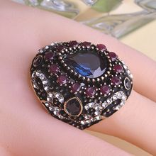 Turkish Sapphire Vintage Fine Jewelry Anel Big Size Rings Anillo Turco Anies Femininos Antique Gold Plated Women Bijou Bijuteria(China (Mainland))