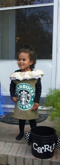 Starbucks costume and I LOVE that she just took a bucket, added some ribbon and the name and used it for Halloween treats!