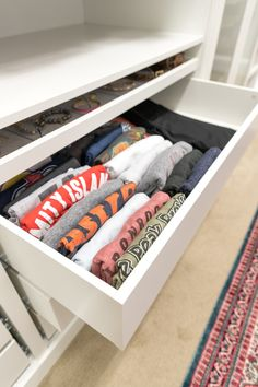 Check out our master walk-in closet makeover using IKEA PAX. By adding trim and giving it a built-in look we saved money and ended up with our dream closet. Bedroom Turned Closet, Master Bedroom Closet, T Shirt Storage, Ikea Pax Closet, Ikea Wardrobe, Entryway Closet, Wardrobe Storage, Closet Storage, Bedroom Storage