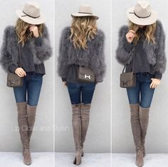 From last fall - #Reiss hat, #MiuMiu sweater, #BCBG feather jacket, #JBrand jeans, #StuartWeitzman boots and #Hermes #Constance18 in etain. (23 September 2016)