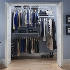 Closet Organizer Kit   The ClosetMaid ShelfTrack Ft. Closet Organizer Kit  Features Adjustable SuperSlide Shelving So You Can Create Custom  Configurations ...