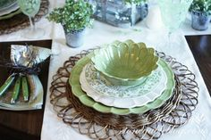Green hydrangea themed tablescape with Pier 1 Natural Flower Placemats  Pinning so my sister see this - this is so you!