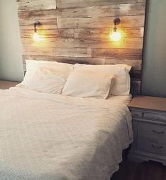 Tall whitewashed wall headboard farmhouse chippy paint beachhouse nautical driftwood shiplap paint distressed barnwood coastal white wood - Home Page Reclaimed Wood Headboard, Painted Cottage, Home, Rustic Bedroom, Rustic House, Bed, Headboard Wall, Bedroom Decor, Bedroom