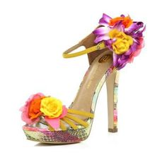 yellow flower sandals - heels