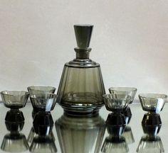 6 Likörgläser u. Karaffe Haida/ Steinschönau Art Deco Kristall Kunstglas Böhmen