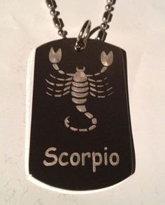 Zodiac Signs Sign Scorpio Scorpion - Military Dog Tag, Luggage Tag Key Chain Metal Chain Necklace *** Trust me, this is great! Click the image. : Dog tags for pets