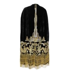1920s Velvet Cape with Sequined Dragon Motif and Scalloped Beaded Fringe | From a collection of rare vintage coats and outerwear at https://www.1stdibs.com/fashion/clothing/coats-outerwear/