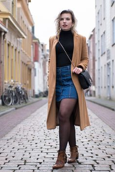 RED REIDING HOOD: Topshop camel coat outfit button front denim skirt turtleneck rib top cowboy ankle boots