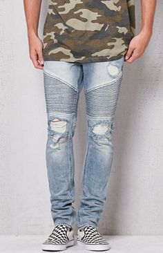 PacSun Stacked Skinny Moto Medium Wash Stretch Jeans at PacSun.com a005d9258