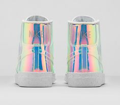 """wetheurban: """" FASHION: Nike Blazer Mid Premium QS """"Iridescent"""" """"If Cinderella's glass slipper fits so perfectly, I wonder why it fell off along the way? I can't help but think…"""" - Unknown Nike. Nike Sneakers, Sneakers Fashion, Fashion Shoes, Photo Nike, Ballerinas, American Apparel, Basket Sneakers, Nike Shoes Outlet, Nike Free Runs"""
