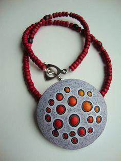"""Cauldron"" pendant. | by Carrie Harvey, done in Christine Dumont's Cellularia technique"