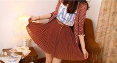Vintage-Chiffon-Pleated-Short-Skirt-with-Belt