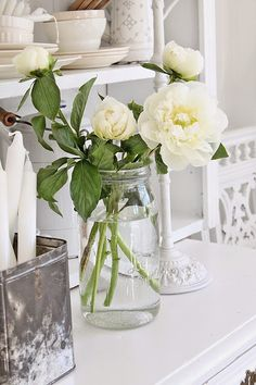 Love to use a Mason jar for flowers.
