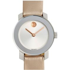 Movado Women's Bold Patent Leather Strap Watch ($225) ❤ liked on Polyvore featuring jewelry, watches, polish jewelry, white strap watches, dot jewelry, polka dot watches and white jewelry