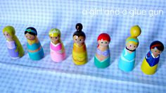 A girl and a glue gun: princess peg dolls!