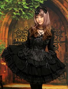 #Gothic Black #Lolita One-piece Dress Long Hime Sleeves Lace Up Layers Lace Trim