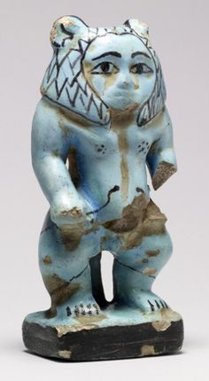 Protective Figure of Aha-Bes, ca. 1800-1750 BC (Second Intermediate), Artist Egyptian, faience with blue glaze. Resembling the protective deity Bes, this benevolent demon holds a snake in each hand, symbolizing his ability to ward off the bites and stings of venomous creatures.