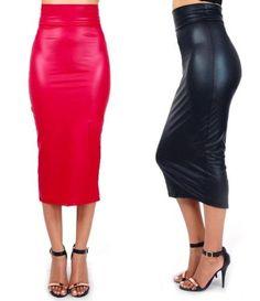 high waist faux leather red black midi pencil skirt zipper close S M L 10196SK