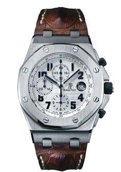 ROYAL OAK OFFSHORE CHRONOGRAPH    Selfwinding chronograph with date display and small seconds at 12 o'clock. Safari model. Stainless steel case, white dial, brown strap.