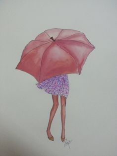 Girl with an umbrella by PoohArtcade on Etsy
