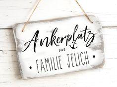 Geschenk Geburtstag Hochzeitsgeschenk Türschild maritim Ankerplatz Haustürschild Name Familie Dekoration Shabby Chic