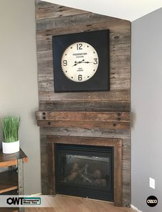 OZCO Building Products - Ornamental Wood Ties - Our Hex Cap Nuts pair well with reclaimed wood projects, like this fireplace feature wall. wood projects projects diy projects for beginners projects ideas projects plans Wood Feature Wall, Ornamental Wood, Pallet Fireplace, Wood Fireplace, Reclaimed Wood Fireplace, Farmhouse Fireplace, Wood Fireplace Surrounds, Fireplace, Diy Fireplace