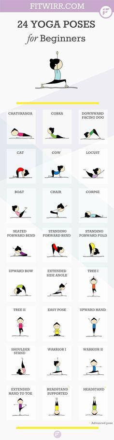 24 Yoga poses for beginners. Namaste :-). #yoga #meditation #health #weightlossrecipesforwomen