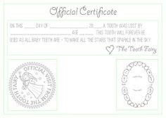 """This Crazy, Blessed Life: """"Official"""" Tooth Fairy Certificate"""