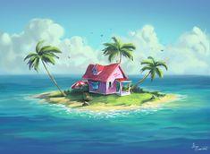 Dbz, Goku, Emerson, Dragon Ball Z, Anime, World, Artwork, House, Painting