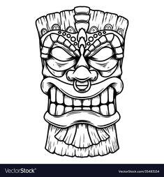 Tiki Faces, Tiki Tattoo, Free Tattoo Designs, Tiki Totem, Mask Drawing, Tiki Mask, Graffiti Drawing, Silhouette Art, Mask Design