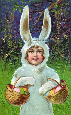 Easter Bunny Suit Girl Repro Greeting Card Basket of Eggs