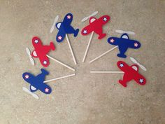 Airplane Cupcake Toppers by armywife711 on Etsy