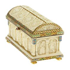 1stdibs | BOUCHERON. Rare Belle Epoque Enamel and Ivory Stamp Box. c1892