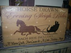Primitive christmas signs     Primitive Christmas Winter Sign Horse Drawn Sleigh Ride   eBay