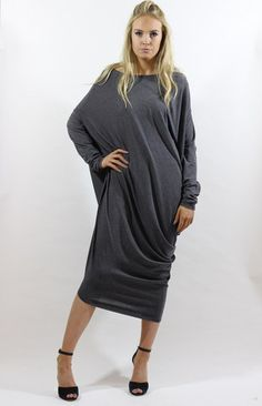 Gaya grey asymmetric dress by LagenLuxe Product photo Luxe Clothing, Draped Dress, Fashion Labels, Asymmetrical Dress, High Neck Dress, Boutique, Grey, Long Sleeve, Sleeves