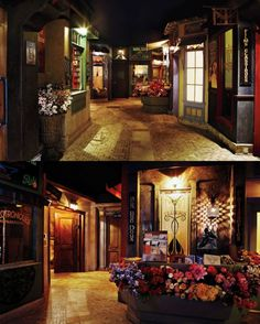 home theater with an outside street scene. I'd put a concession stand in one store front, movie storage in another