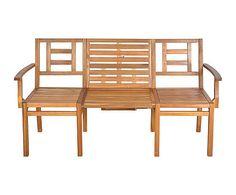 Panca modulabile in legno naturale - 156x54x88 cm