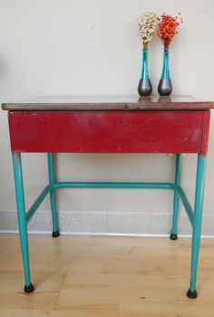FREE SHIPPING! Vintage School Desk End Table