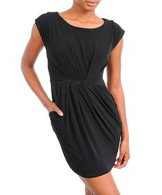 Take a look at this Black Tie-Back Dress by Buy in America on #zulily today!