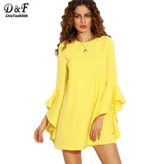 Dotfashion Yellow Crew Neck Ruffle Flare Sleeve Shift Dress Female Plain Long Sleeve Straight Mini Dress
