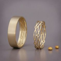 14K Gold Eternity Wedding Rings Set Handmade by AverieJewelry