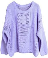 Purple Long Sleeve Hollow Loose Pullovers Sweater 0.00