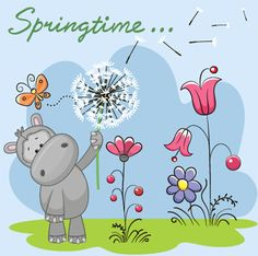 Spring lovely animal cartoon vector 02