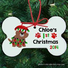 puppy's first christmas ornament dog bone shaped christmas gift personalized - dog's 1st christmas