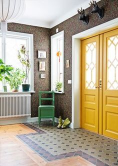 Scandinavian Style at Villa Villekulla . Black Interior Doors, Yellow Interior, Scandinavian Interior, Scandinavian Style, Yellow Home Decor, Villa, Yellow Doors, Yellow Houses, Interior Design Inspiration