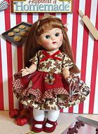 "Gingerbread ~Luvin' From The Oven~...a cute Gingerbread dress & Bloomers for 7.5"" Vintage or Reproduction VOGUE Ginny, Muffie, Ginger, or Madame Alexander dolls. This will also fit 8"" Modern Ginny if you don't mind a little shorter dress. New and cute and at my website now www.karmelapples.com Matching set for Vogue's 5 1/2"" Mini Ginny Doll is available on there too. Outfit only, no doll."