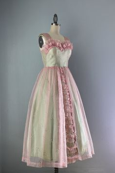 50s Party Dress / Vintage 1950s Handmade Prom Dress by HolliePoint, $144.00
